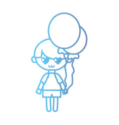 line boy with hairstyle design and balloons vector image