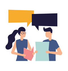 man and woman with documents talk bubble vector image