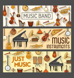 musical instruments orchestra music band vector image