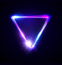 neon abstract triangle with light star particle vector image