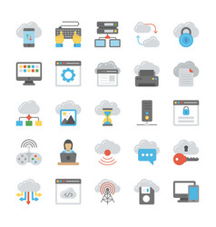 Network and cloud computing flat icon collection vector