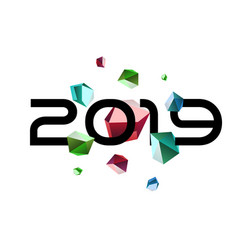 New year among meteor shower of gem-cut stones vector