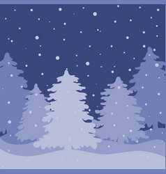 night landscape with fir forest vector image