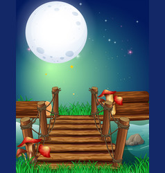 night scene with fullmoon over the bridge vector image