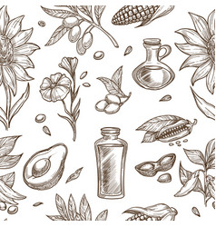 oil collection of natural ingredients seamless vector image