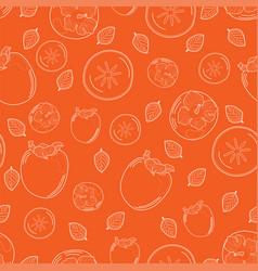 Persimmon pattern on an orange background vector