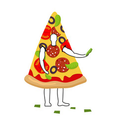 pizza man mascot promoter male in suit slice vector image