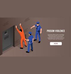 Prison violence horizontal banner vector