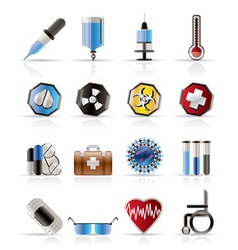 Realistic medical themed icons and warning-signs vector