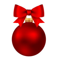 red christmas ball on a ribbon with a beautiful vector image