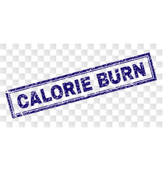 Scratched calorie burn rectangle stamp vector