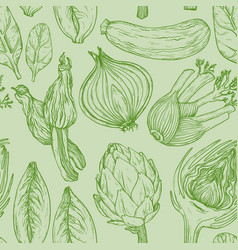 Seamless green pattern with nature mediterranean vector