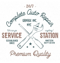 Service station vintage label tee design graphics vector image