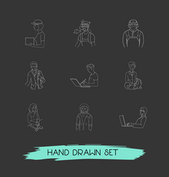 Set of occupation icons line style symbols with vector
