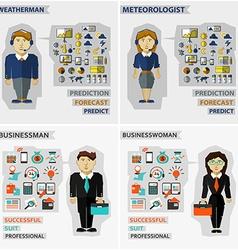 Set of professions Meteorologist weatherman vector image