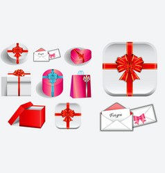 set of various realistic valentine gift vector image