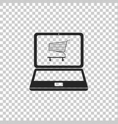 shopping cart on screen laptop vector image