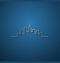 simple line cityscape silhouette with shadow vector image