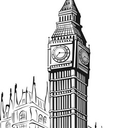 Sketch big ben london vector