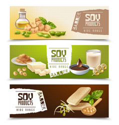Soy products horizontal banners vector