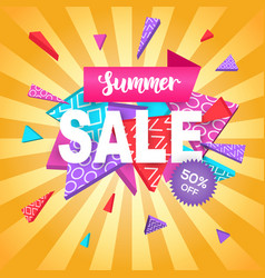 Summer sale banner template for online shopping vector