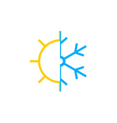 sun and snowflake icon vector image