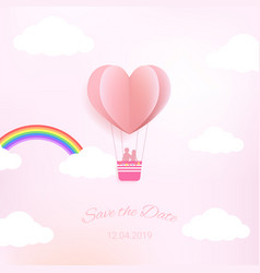 sweet color heart in paper cut style with save vector image