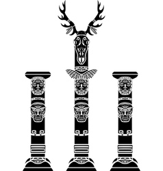Totem pole with a deer skull vector image