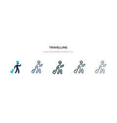 Travelling icon in different style two colored vector