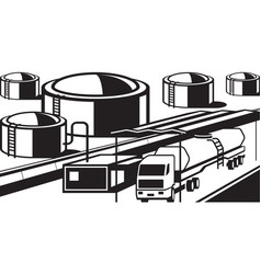 Truck tank loading fuels from petroleum base vector