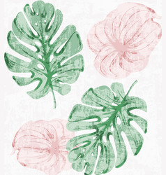 vintage tropic leaves watercolor exotic vector image