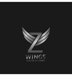 Wings Z letter logo vector
