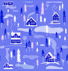 Winter village landscape seamless pattern vector