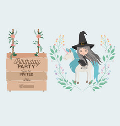 Witch with unicorn and label wooden invitation vector