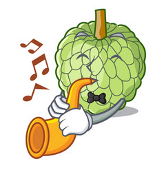 With trumpet fresh custard apple sweet fruit vector