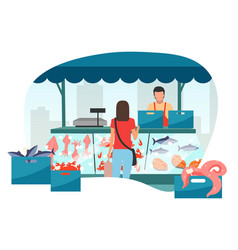 Woman buying seafood at street market stall flat vector