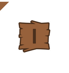 wooden alphabet or font blocks with letter i in vector image