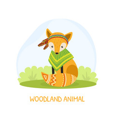 Woodland animal banner template with cute ethnic vector
