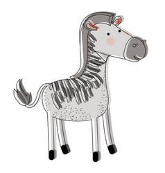 Zebra cartoon watercolor silhouette in white vector