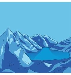 Blue mountain Glacial lake landscape vector image vector image
