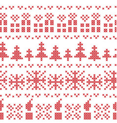 Chritsmas nordic cross stitch pattern in red vector image vector image