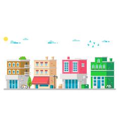 flat design facades urban vector image vector image
