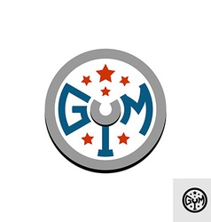 Gym logo template Barbell weight disk concept vector image vector image