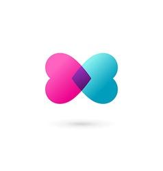 Heart symbol butterfly logo icon design template vector