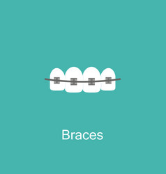 tooth with braces icon vector image vector image