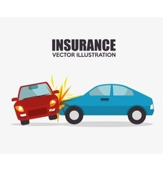 icon insurance car crash security design vector image