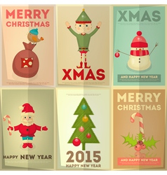 Merry Christmas Greeting Poster Set vector image