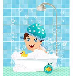 cute little boy cartoon character in bathtub with vector image vector image