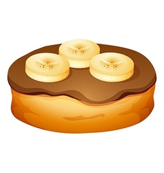 Doughnut with chocolate and banana topping vector image vector image