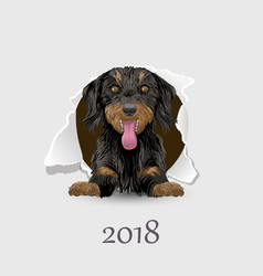 flyer with the numbers and a happy dog symbol 2018 vector image